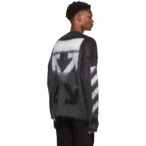 Off-White Grey Mohair Gradient Sweater XS